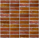 1x3 Inch Amber Brown Iridescent Glass Subway Tile Stacked