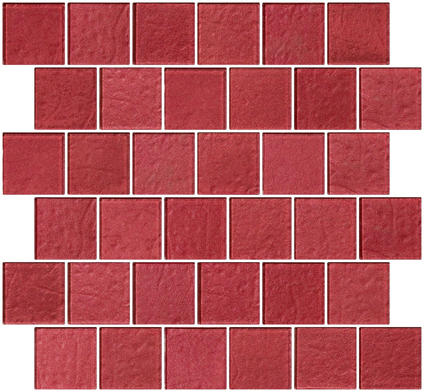 2x2 Inch Red Rose Metallic Glass Tile Reset In Offset Layout