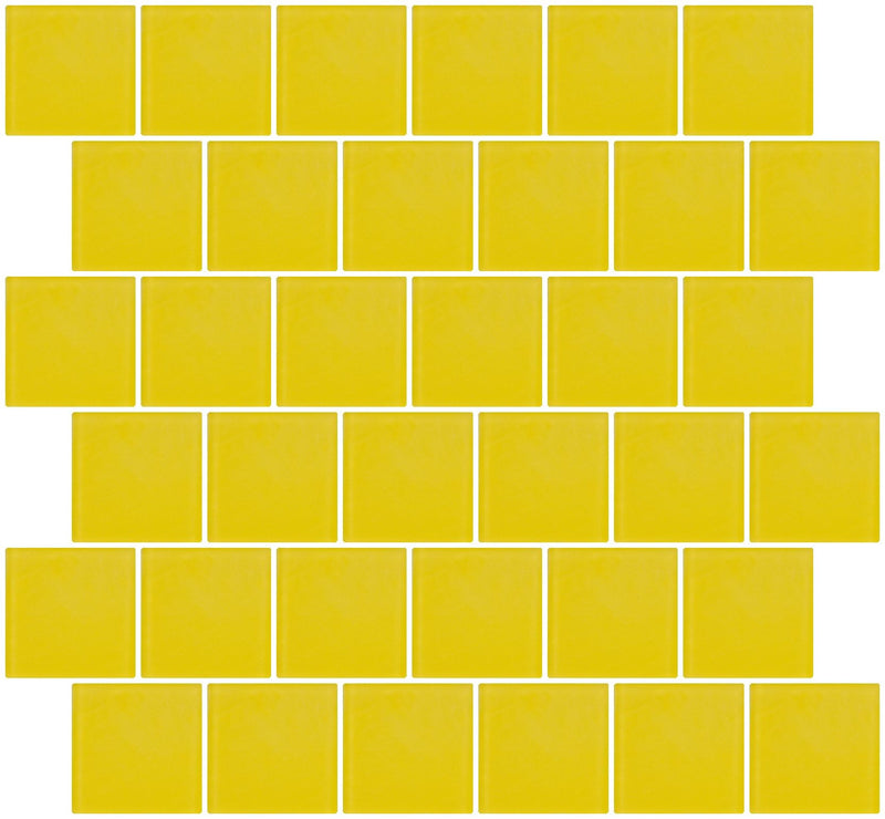 2x2 Inch Bright Yellow Frosted Glass Tile Reset In Offset Layout