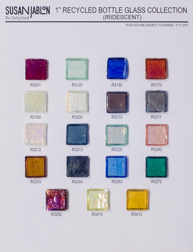 1x1 Inch Iridescent Oceanstyle Bottle Glass Sample Board