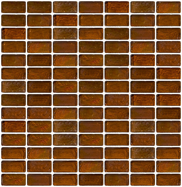 3/4 x 1 1/2 Inch Brown Iridescent Glass Subway Tile Stacked