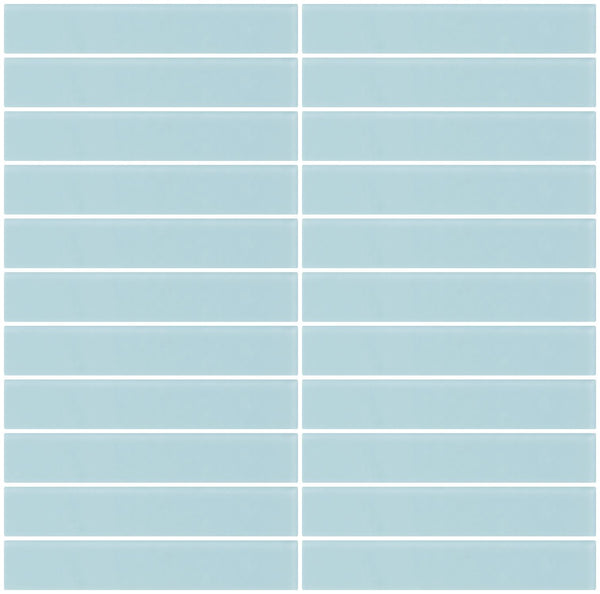 1x6 Inch Light Aqua Blue Frosted Glass Subway Tile