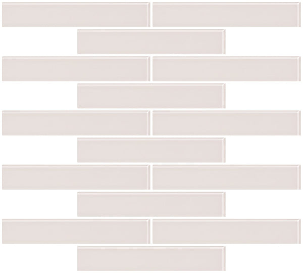 1x6 Inch Creme Bone White Glass Subway Tile Reset In Running-brick Layout