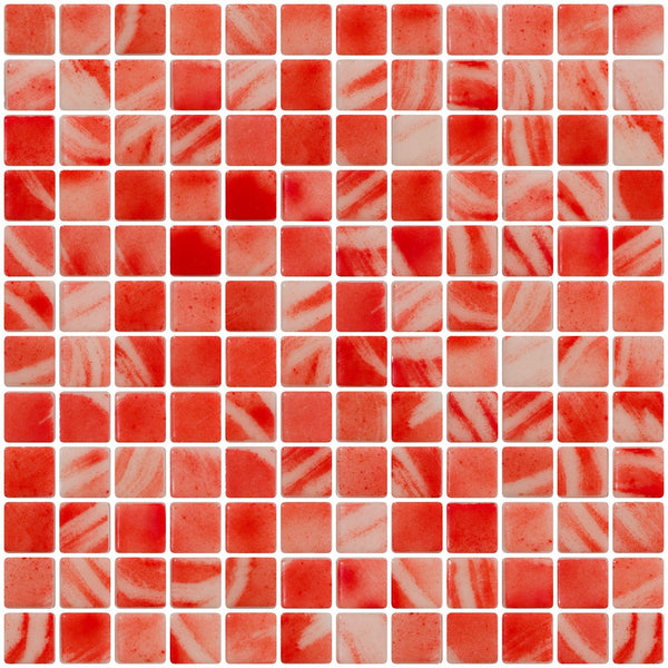 1 Inch Candy Cane Red Recycled Glass Tile