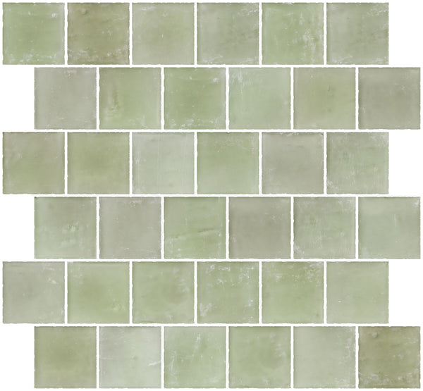 2x2 Inch Matte Green Glass Tile Reset In Offset Layout