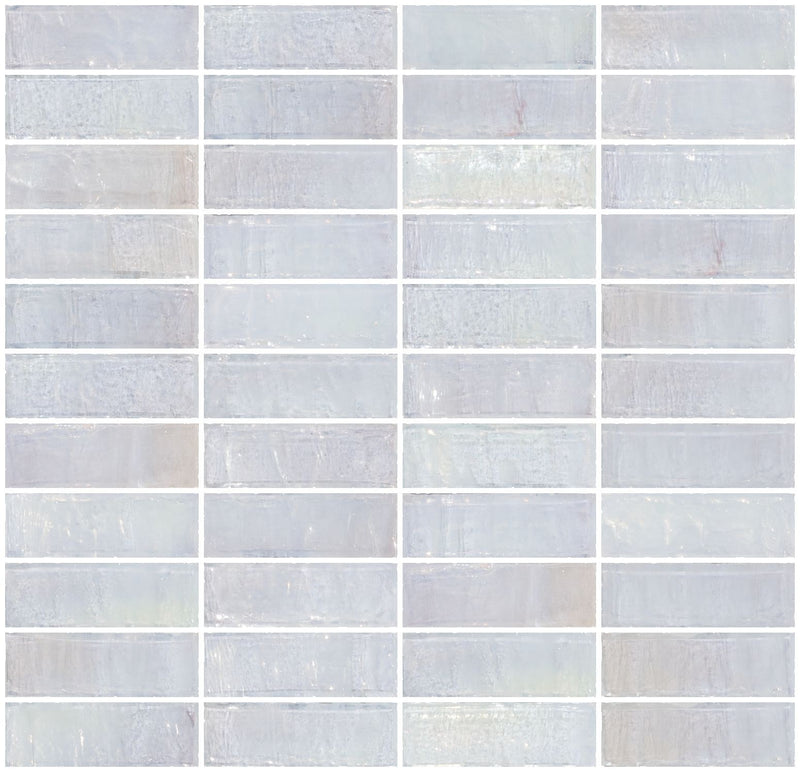 1x3 Inch Icy White Iridescent Glass Subway Tile Stacked