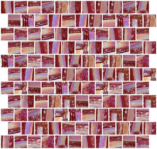 1 Inch Ruby Red Textured Recycled Glass Tile Offset