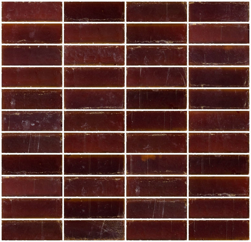 1x3 Inch Matte Deep Brown Glass Subway Tile Stacked