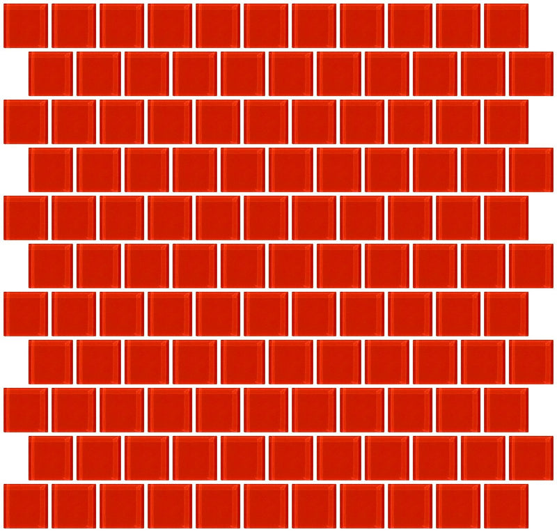 1 Inch Tomato Red Glass Tile Reset In Offset Layout