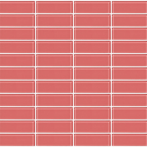 Susan Jablon Mosaics 1x3 Inch Opaque Blush Pink Glass Subway Tile Reset In Stacked Layout