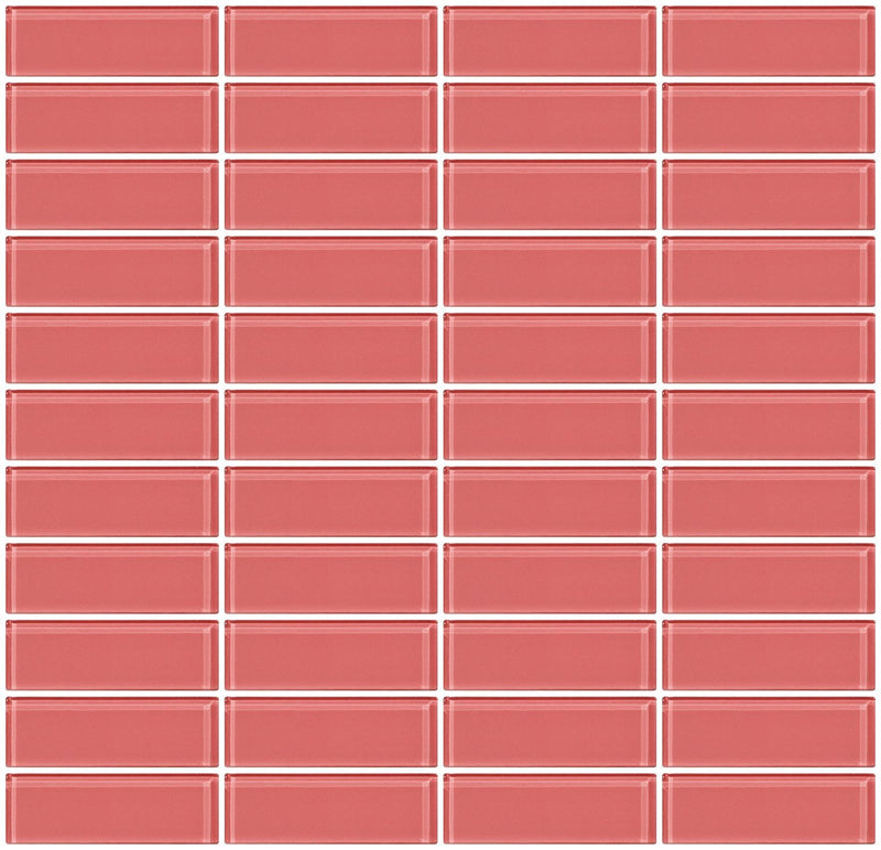 1x3 Inch Coral Pink Glass Subway Tile Stacked