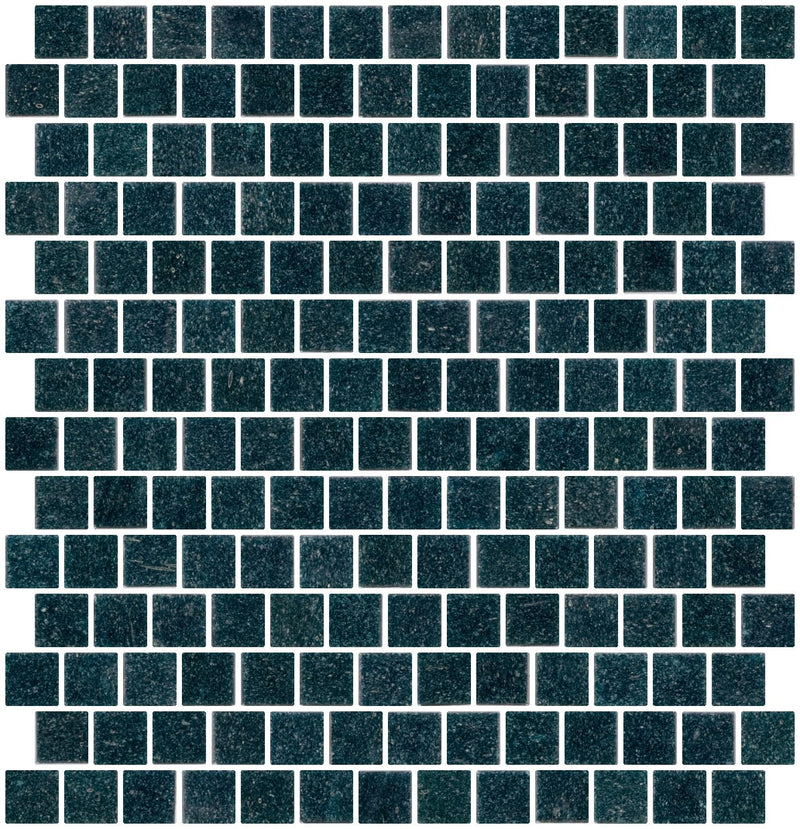 3/4 Inch Marine Indigo Blue Glass Tile  Reset In Offset Layout