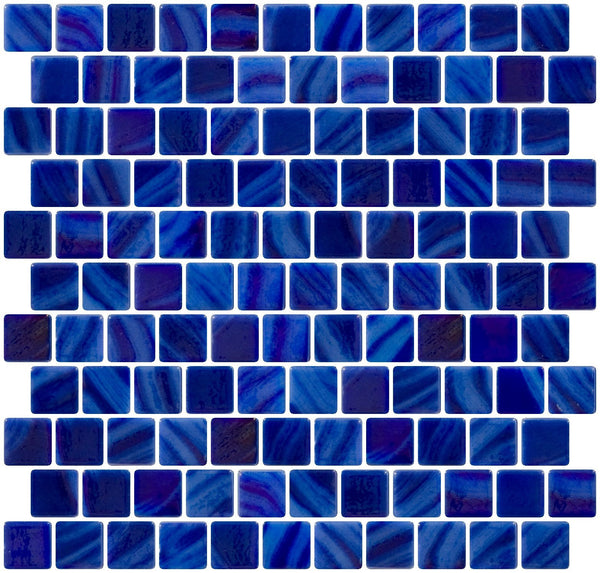 1 Inch Dark Periwinkle Blue Iridescent Recycled Glass Tile Reset In Offset Layout