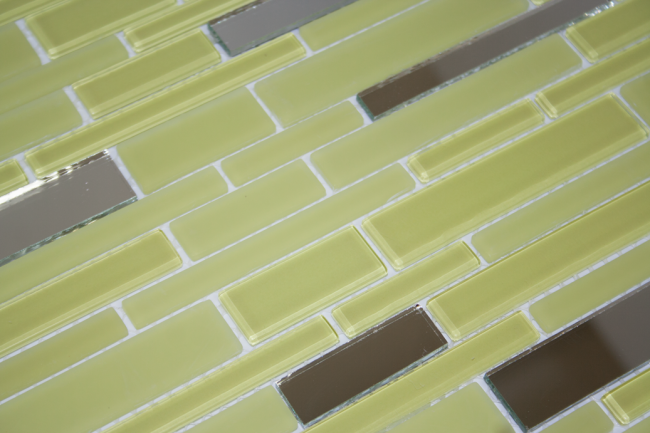 Light Lime Green and Mirror Glass Tile
