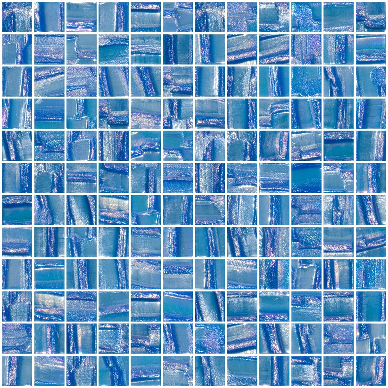 1 Inch Atmospheric Blue Textured Recycled Glass Tile