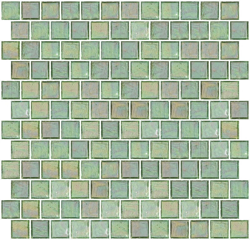 1 Inch Clear Green Iridescent Glass Tile Reset In Offset Layout