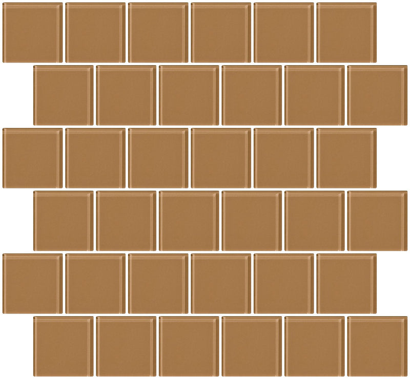 2x2 Inch Mushroom Brown Glass Tile Offset
