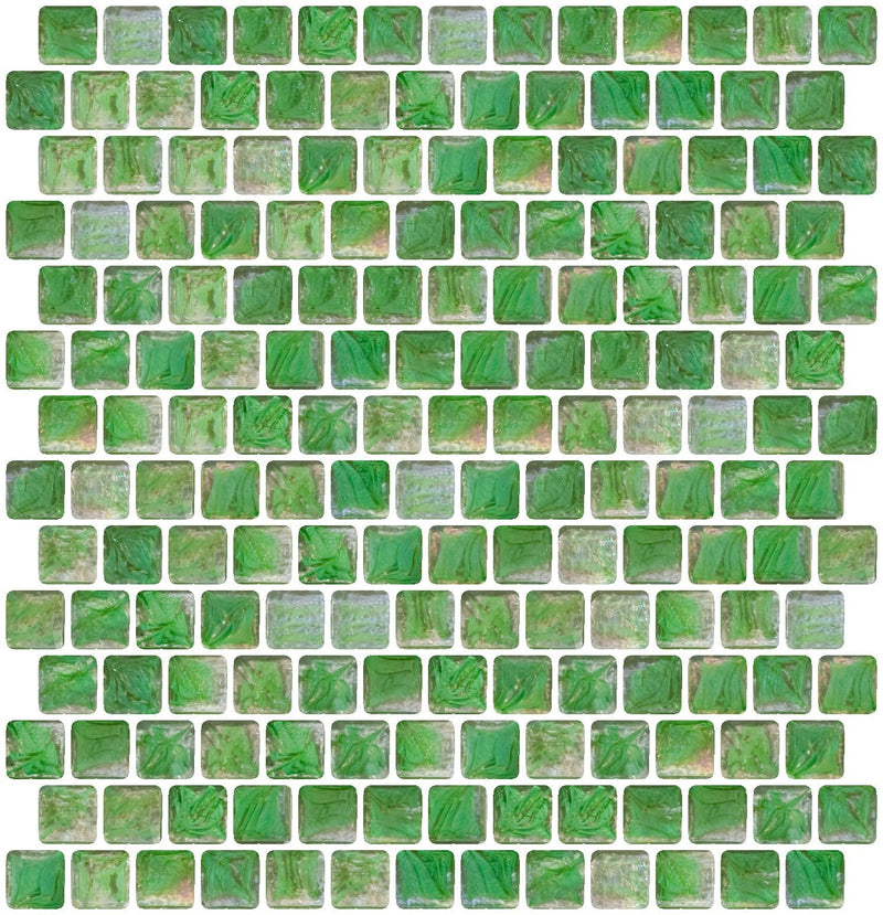 3/4 Inch Green Marbled Glass Tile Offset
