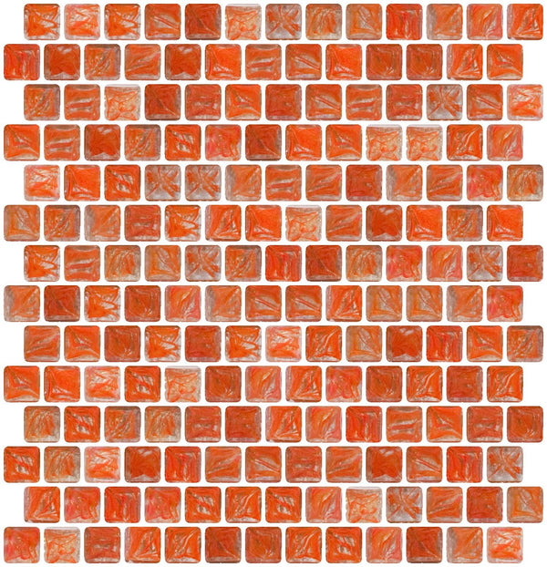 3/4 Inch Orange Marbled Glass Tile Offset
