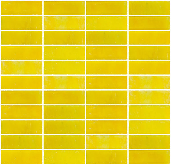 1x3 Inch Matte Sunshine Yellow Glass Subway Tile Stacked