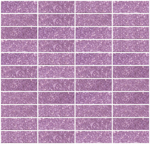1x3 Inch Barbie Pink Glitter Glass Subway Tile Stacked
