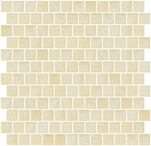 1 Inch Transparent Yellow Cream Glass Tile Reset In Offset Layout