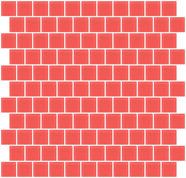 1 Inch Watermelon Pink Frosted Glass Tile Reset In Offset Layout