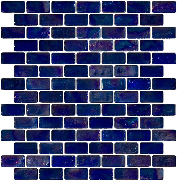 3/4 x 1 1/2 Inch Blue Iridescent Glass Subway Tile