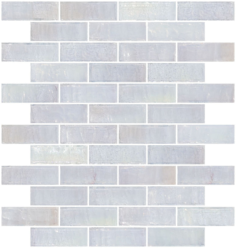 1x3 Inch Icy White Iridescent Glass Subway Tile