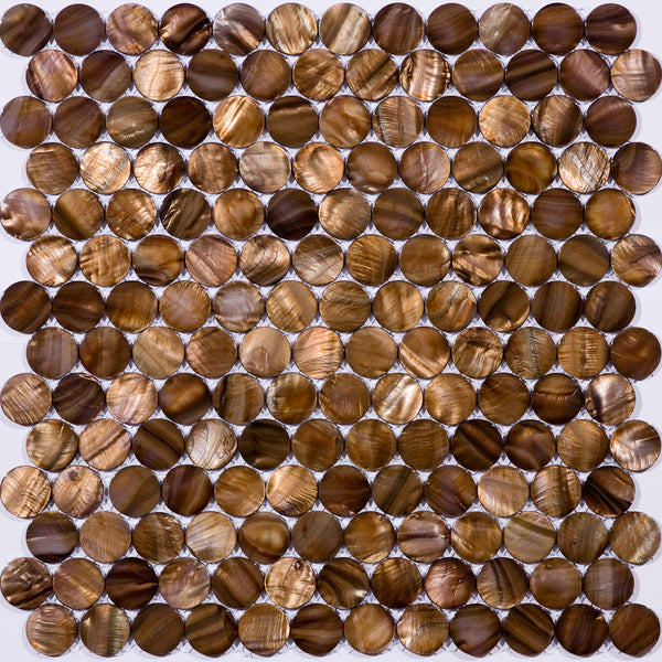Full Sheet of 1 Inch Round Brown Shell Tile