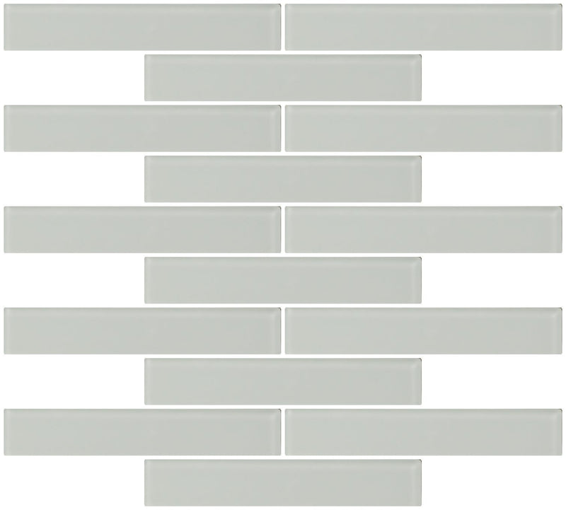 1x6 Inch Subway White Frosted Glass Tile  Reset In Running-brick Layout