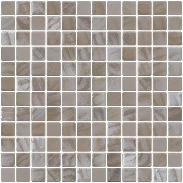 1 Inch Oyster White Iridescent Recycled Glass Tile