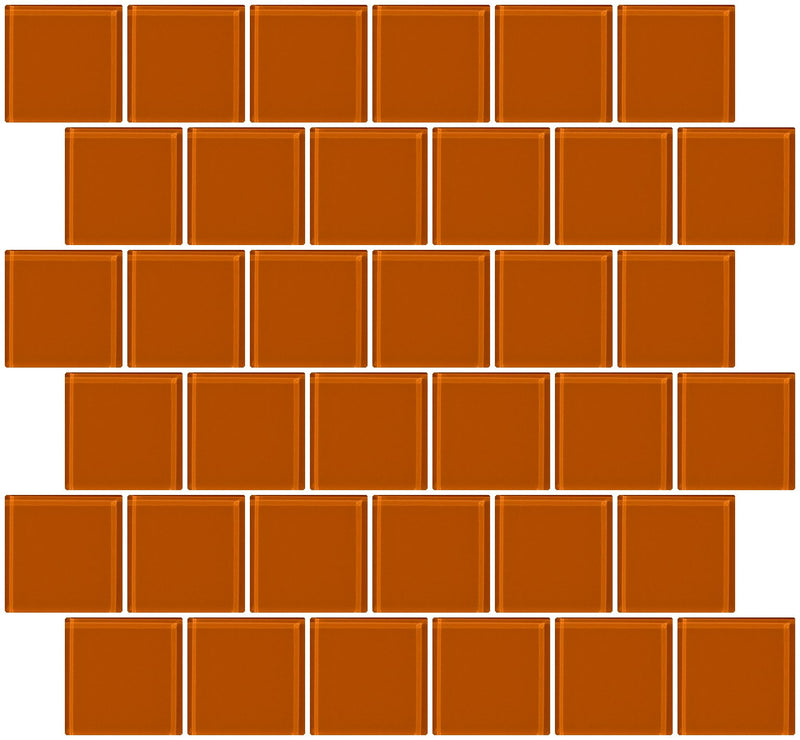 2x2 Inch Retro Orange Glass Tile Offset