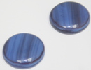 1 Inch Round Blue-Dark Plum swirl Opaque Fused Glass Accent Tile