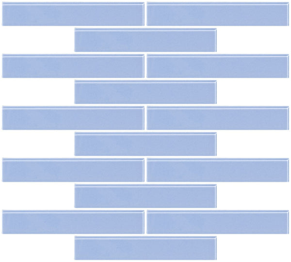 1x6 Inch Light Periwinkle Blue Glass Subway Tile Reset In Running-brick Layout