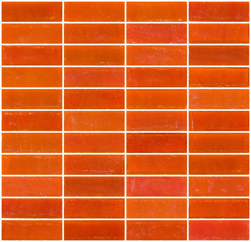 1x3 Inch Matte Orange Glass Subway Tile Stacked