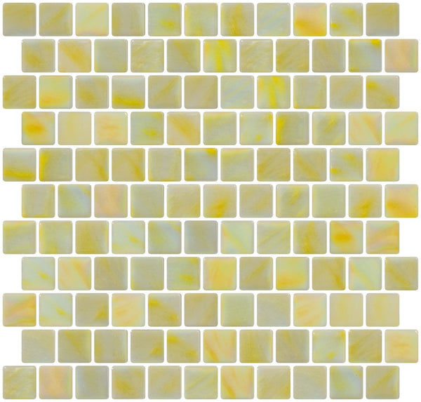 1 Inch Lemon Yellow Iridescent Recycled Glass Tile Reset In Offset Layout