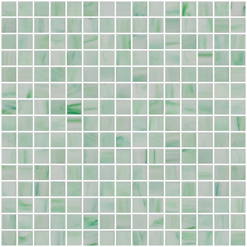3/4 Inch Light Green and White Marbled Glass Tile