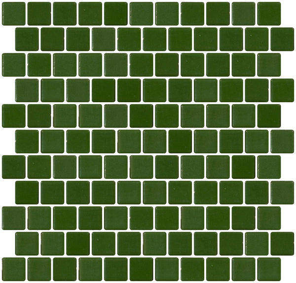 1 Inch Dark Sage Green Recycled Glass Tile Offset