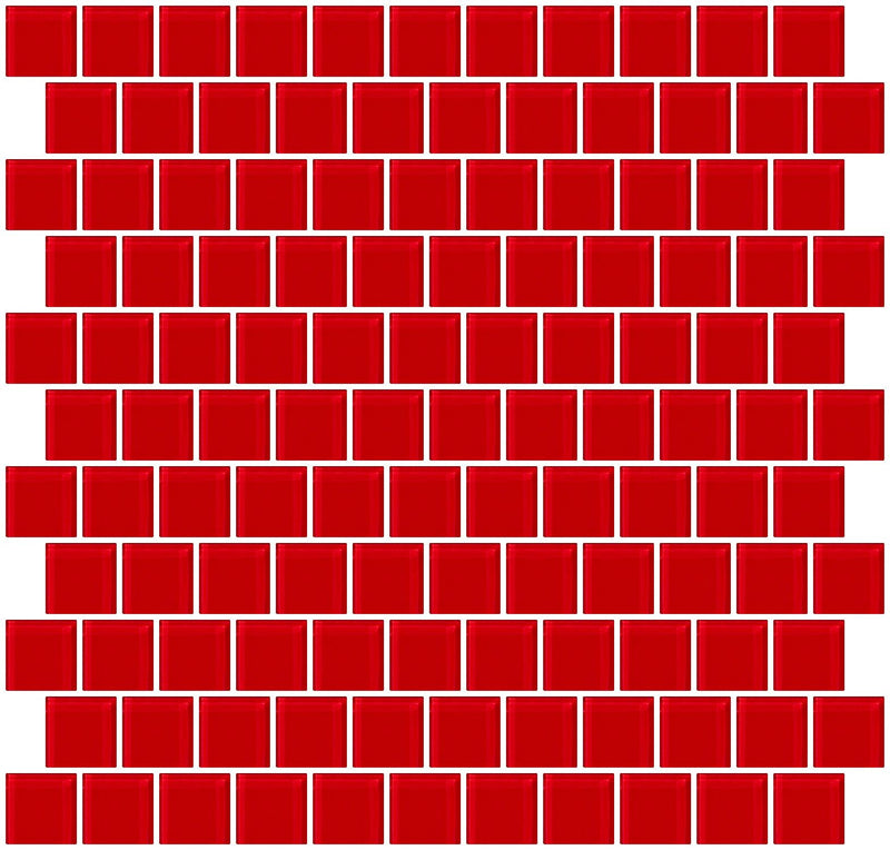 1 Inch Red Glass Tile Reset In Offset Layout