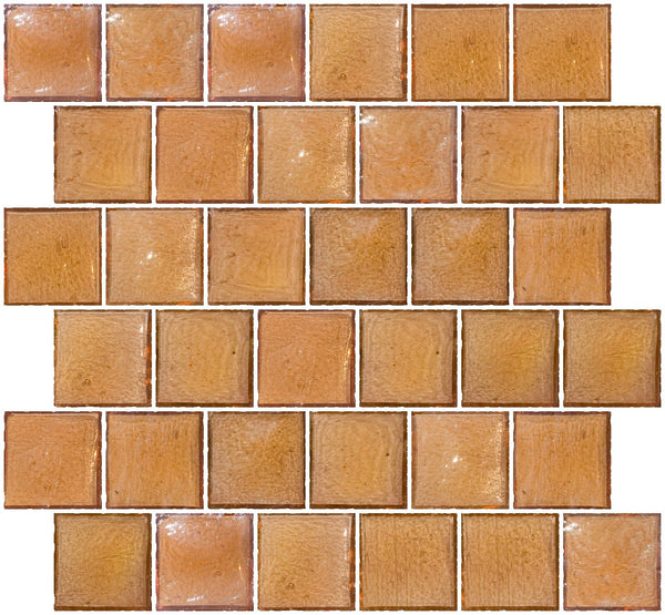 2x2 Inch Peach Pink Iridescent Glass Tile Reset In Offset Layout