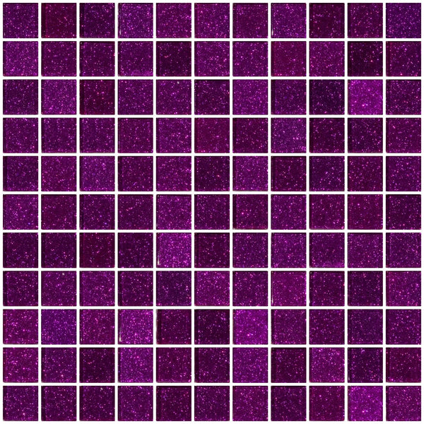1 Inch Purple Violet Glitter Glass Tile