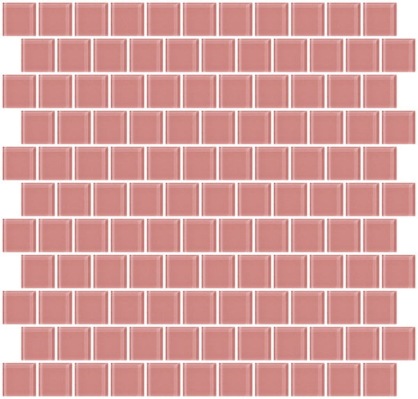 1 Inch Pink Glass Tile Reset In Offset Layout