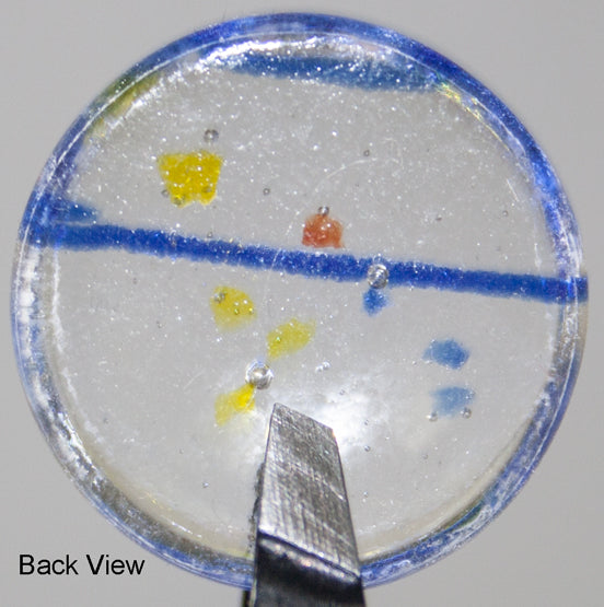 1-INCH ROUND blue, yellow, and red confetti on clear transparent FUSED GLASS ACCENT TILE