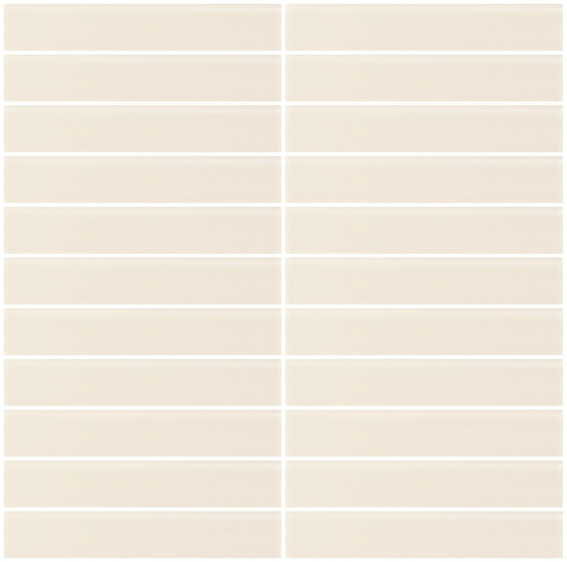 1x6 Inch Vanilla Bone White Frosted Glass Subway Tile
