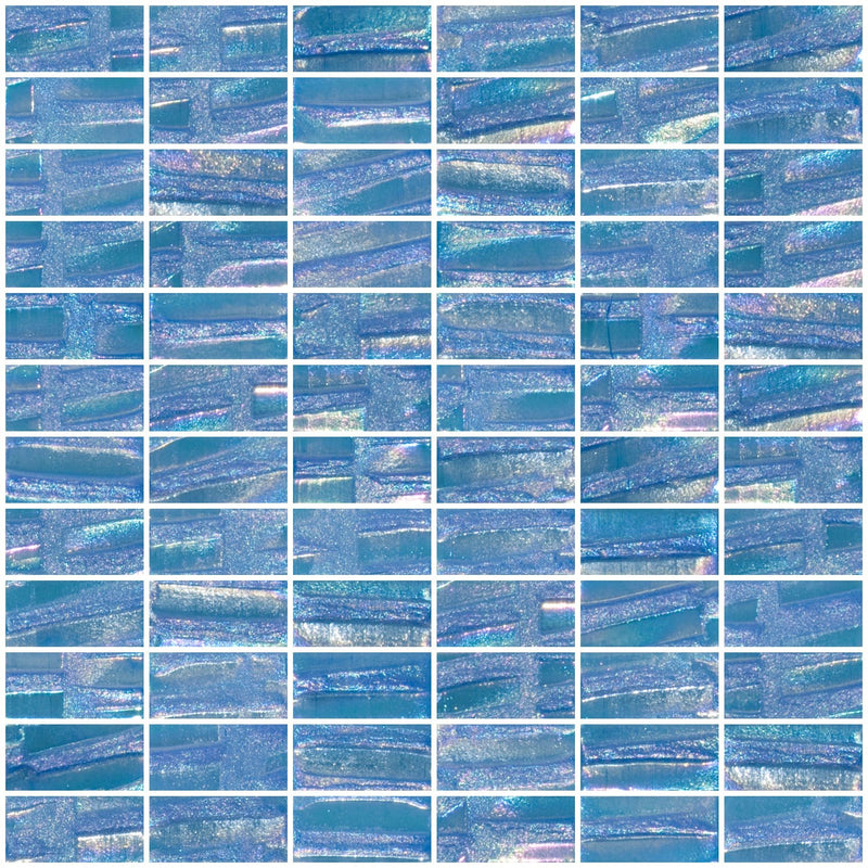1x2 Inch Atmospheric Blue Textured Recycled Glass Subway Tile