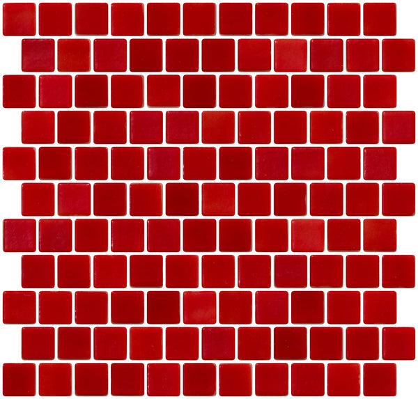 1 Inch Red on White Recycled Glass Tile Reset In Offset Layout