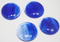 1 Inch Round Cloudy Cobalt Blue Semi-Transparent Fused Glass Accent Tile