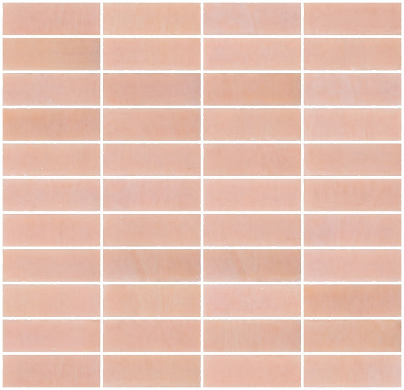 1x3 Inch Opaque Blush Pink Glass Subway Tile Stacked