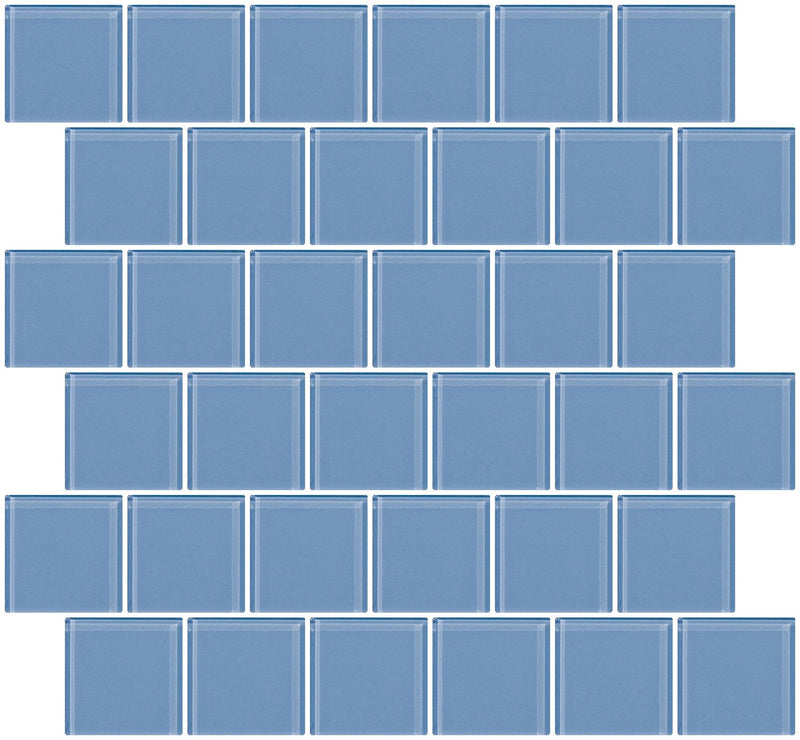 2x2 Inch Light Periwinkle Blue Glass Tile Offset